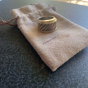David Yurman Gold and Silver Cable Cigar Ring
